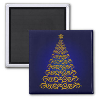 Elegant Blue Christmas Tree Magnet