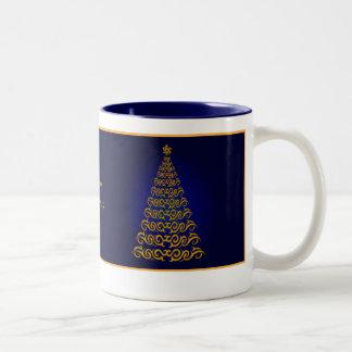 Elegant Blue  Christmas Tree Mug