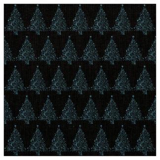 Elegant Blue Christmas Tree Pattern Holiday Season Fabric