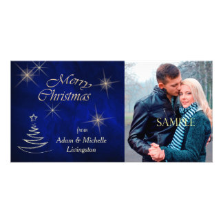 Elegant Blue Christmas Tree Customized Photo Card
