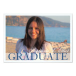 Elegant blue classy graduation portrait invitation