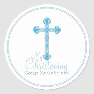 elegant blue cross CHRISTENING party favor label Round Sticker