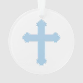 Elegant Blue Cross Ornament