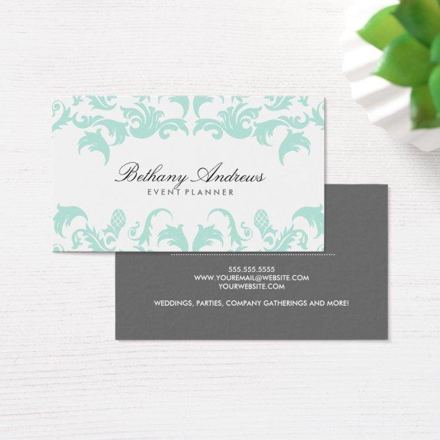 Elegant Blue Damask Business Cards Groupon