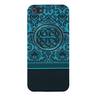 Elegant Blue Damask Celtic Knot iPhone Case