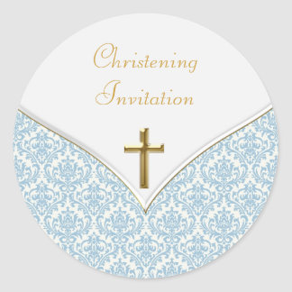 Elegant Blue Damask Christening Stickers