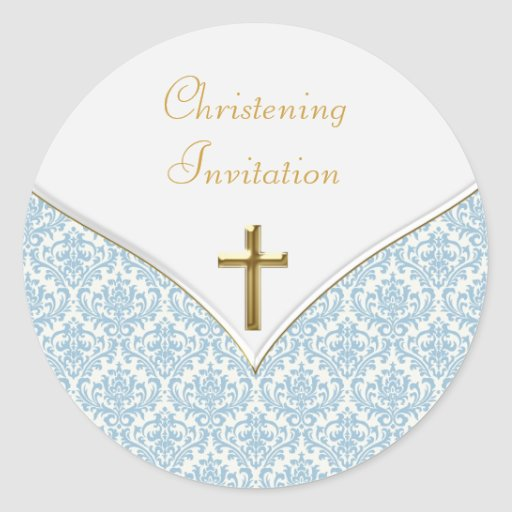 Elegant Blue Damask Christening Stickers
