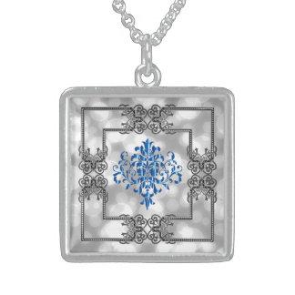 Elegant Blue Damask Design! Sterling Silver Necklace