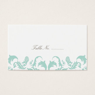 Elegant Blue Damask Guest Table Escort Cards