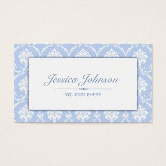 Elegant Blue Damask Pattern Business Card