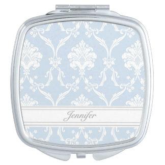 Elegant Blue Damask Pattern Customizable Makeup Mirror