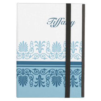 Elegant Blue Damask Personalized Case For iPad Air