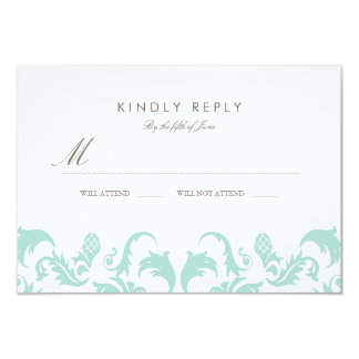 Elegant Blue Damask Wedding RSVP 9 Cm X 13 Cm Invitation Card