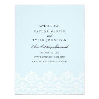 Elegant Blue Damask Wedding Save The Date Personalized Invite