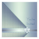 Elegant Blue Diamond Blue Party 13 Cm X 13 Cm Square Invitation Card