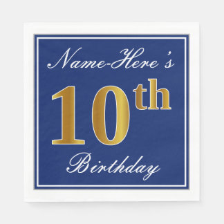 Elegant Blue, Faux Gold 10th Birthday; Custom Name Paper Napkins