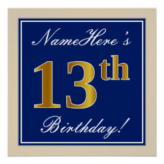 Elegant, Blue, Faux Gold 13th Birthday + Name Poster
