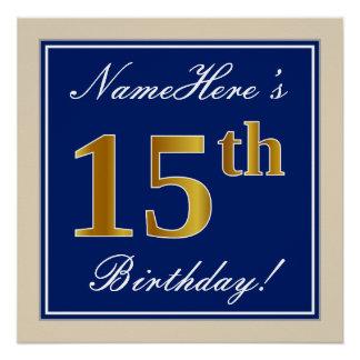 Elegant, Blue, Faux Gold 15th Birthday + Name Poster
