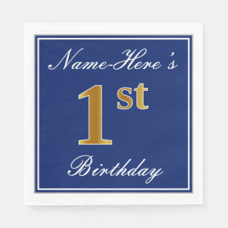 Elegant Blue, Faux Gold 1st Birthday + Custom Name Disposable Napkin