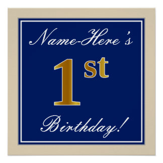 Elegant, Blue, Faux Gold 1st Birthday; Custom Name Poster