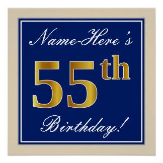 Elegant, Blue, Faux Gold 55th Birthday + Name Poster