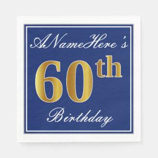 Elegant Blue, Faux Gold 60th Birthday; Custom Name Paper Napkin
