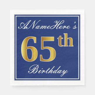 Elegant Blue, Faux Gold 65th Birthday; Custom Name Paper Napkins