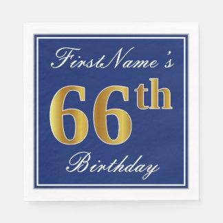 Elegant Blue, Faux Gold 66th Birthday; Custom Name Disposable Serviette