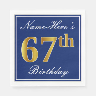 Elegant Blue, Faux Gold 67th Birthday; Custom Name Paper Napkin