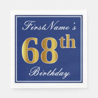 Elegant Blue, Faux Gold 68th Birthday; Custom Name Disposable Napkins