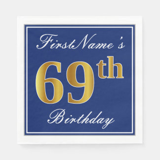 Elegant Blue, Faux Gold 69th Birthday; Custom Name Paper Napkin