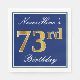Elegant Blue, Faux Gold 73rd Birthday; Custom Name Disposable Serviette