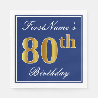 Elegant Blue, Faux Gold 80th Birthday; Custom Name Disposable Napkin