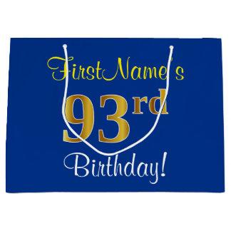 Elegant, Blue, Faux Gold 93rd Birthday + Name Large Gift Bag