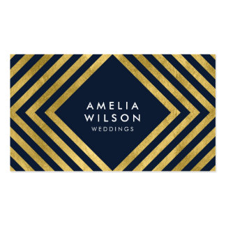 Elegant Blue Faux Gold Square Lines Pack Of Standard Business Cards