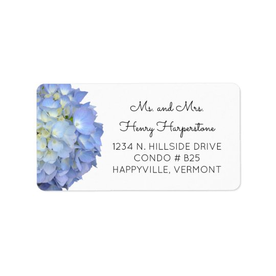 Elegant Blue Floral Hydrangea Black Text Label