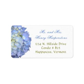 Elegant Blue Floral Hydrangea Wide Label Address Label