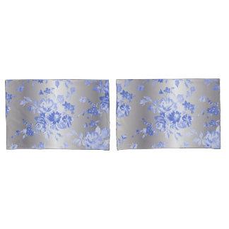 Elegant Blue Floral Pattern on Silver Case Set Pillowcase