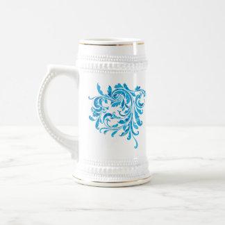 Elegant Blue Floral Vintage Beer Steins