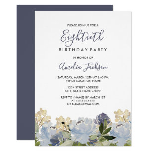 80th birthday invitations zazzle elegant blue floral watercolor 80th birthday invitation filmwisefo