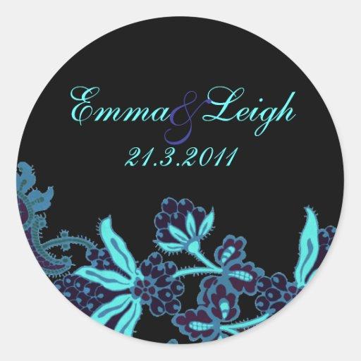 Elegant Blue Floral Wedding Envelope Seal Sticker