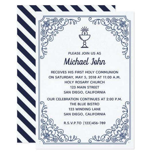 Elegant Blue flourish swirl boy First Communion Card