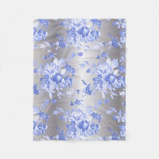 Elegant Blue Flowers on Silver  Fleece