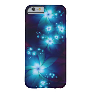 Elegant blue Fractal Flowers Barely There iPhone 6 Case