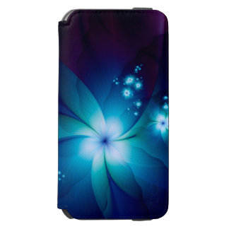 Elegant blue Fractal Flowers Incipio Watson™ iPhone 6 Wallet Case