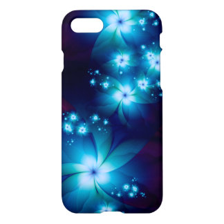 Elegant blue Fractal Flowers iPhone 7 Case
