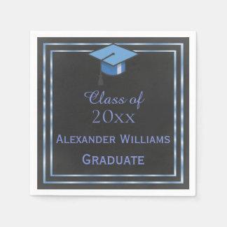 Elegant Blue Framed Graduation Paper Napkins