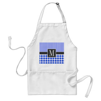 Elegant Blue Gingham; Checkered Aprons