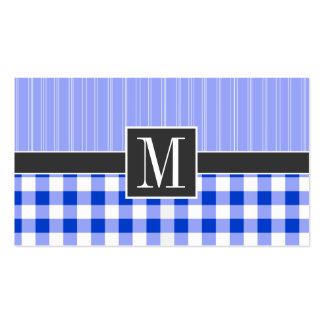 Elegant Blue Gingham; Checkered Business Card Templates