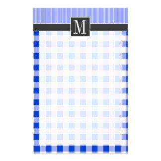Elegant Blue Gingham; Checkered Stationery